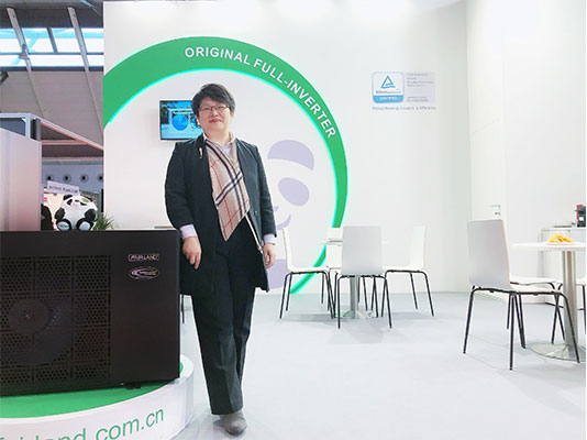 Ms Eileen Zhong, Sales Director of Fairland Electric (China) Limited, at Interbad 2018 in Stuttgart, Germany